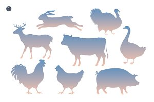 Animals silhouette set. Silhouette