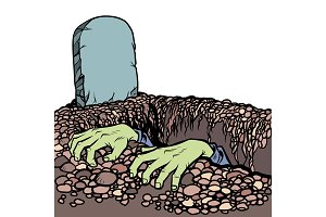 The grave a zombie. Dead man hands