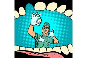 Mouth without tooth. Joyful dentist