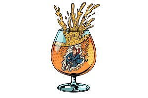 drunkard jumps into a glass of