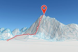 polygonal mountain with route