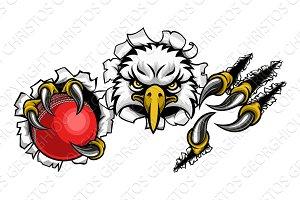 Eagle Cricket Cartoon Mascot Ripping