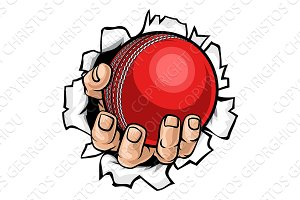 Cricket Ball Hand Tearing Background