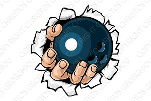 Bowling Ball Hand Tearing Background