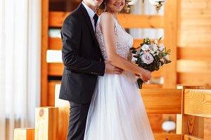 Pretty bride and stylish groom. Gorg