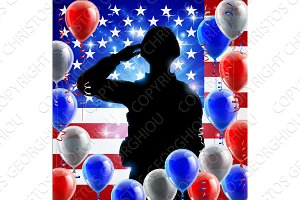 Saluting Soldier American Flag