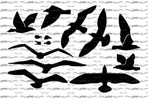 ♥ vector seagulls silhouet
