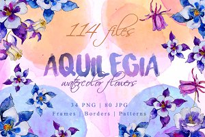 Aquilegia Watercolor png