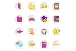 Books icons set, cartoon style
