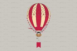 ♥ vector flat Aerostat hot balloon