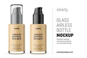 Tall glass airless bottle mockup