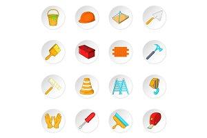 Building tools icons set, cartoon