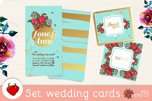 Gold foil set wedding invitations