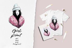 Winter girl portrait sketch