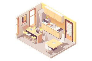 Vector isometric office break room