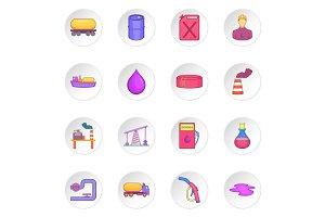 Oil industrial icons set, cartoon