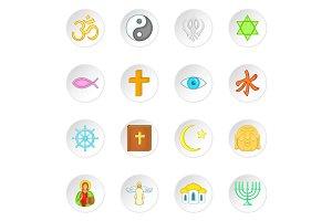 Religion symbols icons set, cartoon
