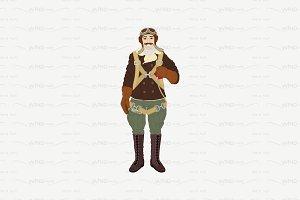 ♥ vector flat pilot airman character