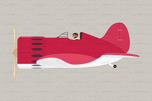 ♥ vector flat plane, airplane