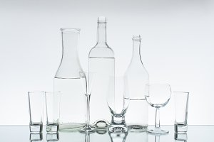 Glassware on the light background