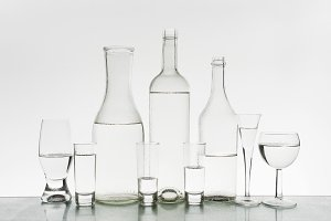 Glassware with clean water
