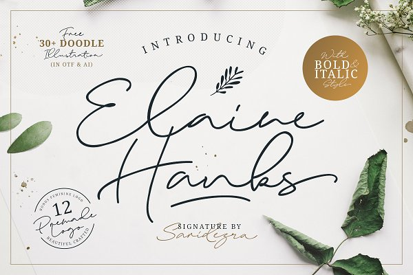Script Fonts: Sarid Ezra - Elaine Hanks (+Feminine Logo Pack)