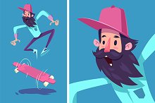 Funny hipster on longboard. Vector