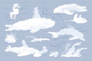 ♥ vector flat animal shaped clouds