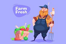 Funny farmer character. Vector