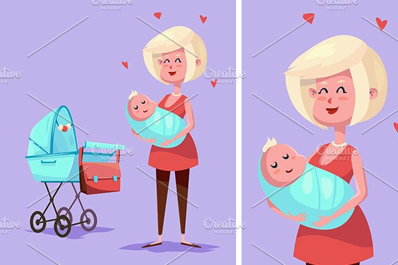 Funny mother character. Vector - Illustrations