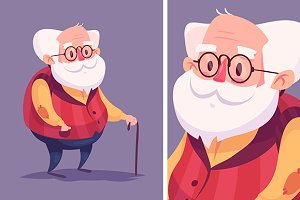 Funny old man character. Vector