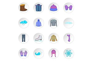 Winter clothes icons set, cartoon