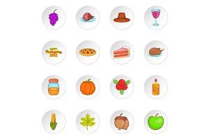 Thanksgiving icons set, cartoon