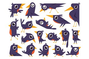 Birds Doodle Cartoon Clipart