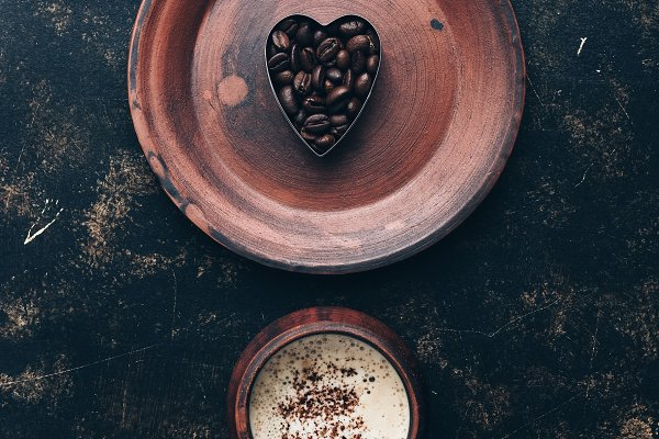 Food Images - Valentine's Day. Heart of coffee bea