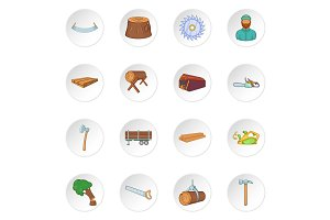 Timber industry icons set, cartoon