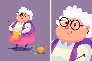 Funny old woman character. Isolated