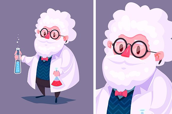 Funny scientist character. Vector - Illustrations