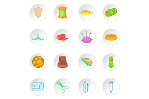 Tailoring icons set, cartoon style