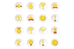 Trophy award icons set, cartoon
