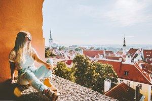 Woman sightseeing Tallinn city