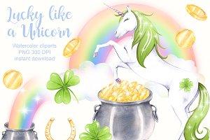 Saint Patrick's day Unicorn clipart