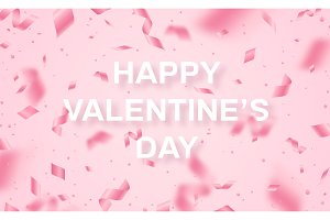 Falling Valentines day pink confetti