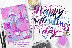 Watercolor Love Poison patterns set