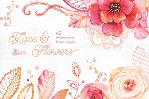 Lace & Flowers. Floral clipart