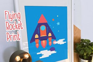 Flying Rocket Print