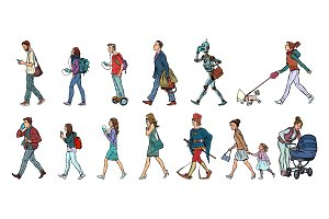 Set collection of pedestrians people