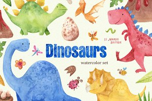 Watercolor Dinosaurs Clipart Set