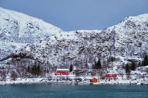 Nature Stock Photos: f9photos - Red rorbu houses in Norway in winter