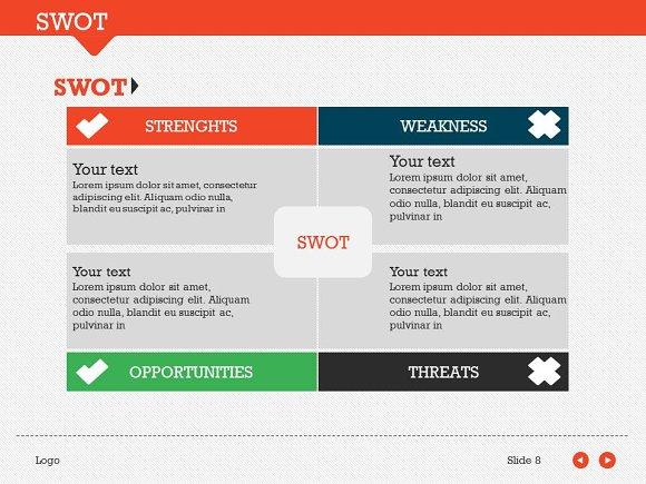Swot Pack 1 Powerpoint Template Presentation Templates Creative